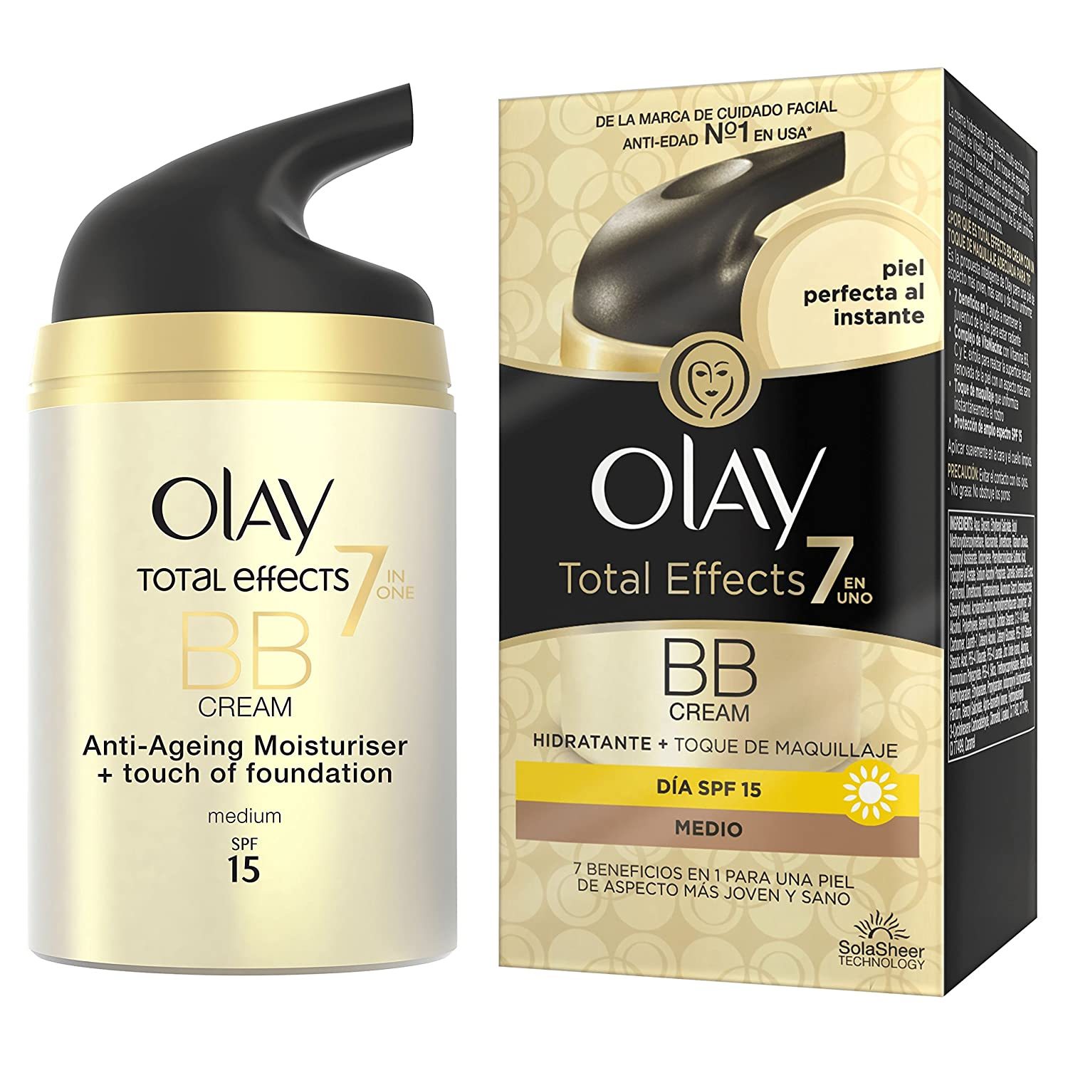 Olay Total Effects Crema Hidratante y Maquillaje Spf 15 Medio - 50 ml: Amazon.es: Belleza