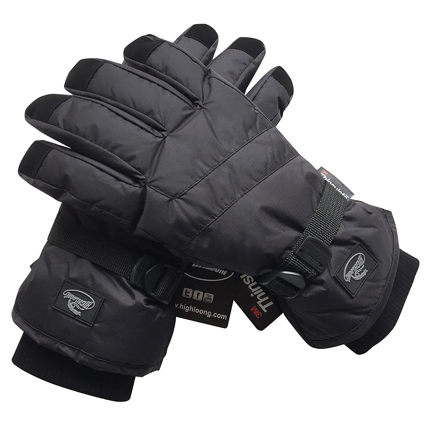 HighLoong Black Men Waterproof Thinsulate Winter Cold Weather Ski Snowboard Gloves (L, Basic)