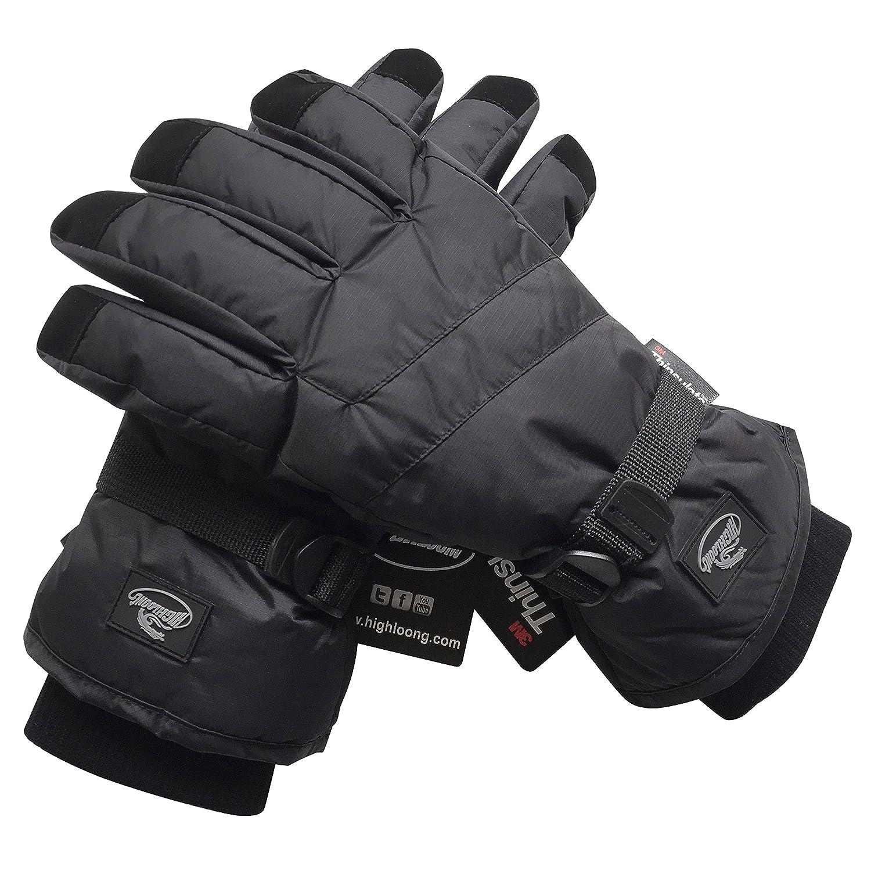 HighLoong Black Men Waterproof Thinsulate Winter Cold Weather Ski Snowboard Gloves (L, Basic)