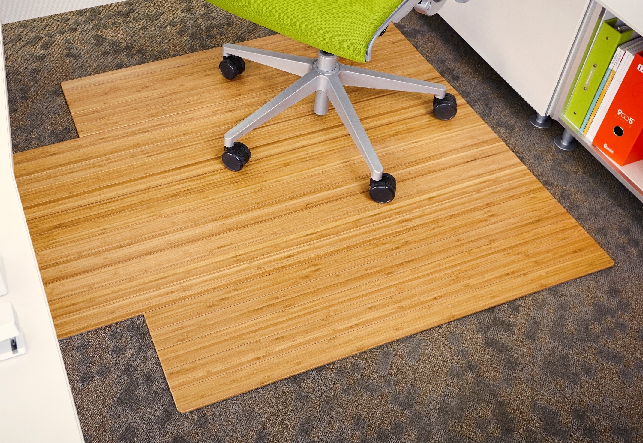 Anji Mountain AMB24005 Bamboo Roll-Up Chair Mat with Lip, Natural, 44 x 52, 5mm Thick