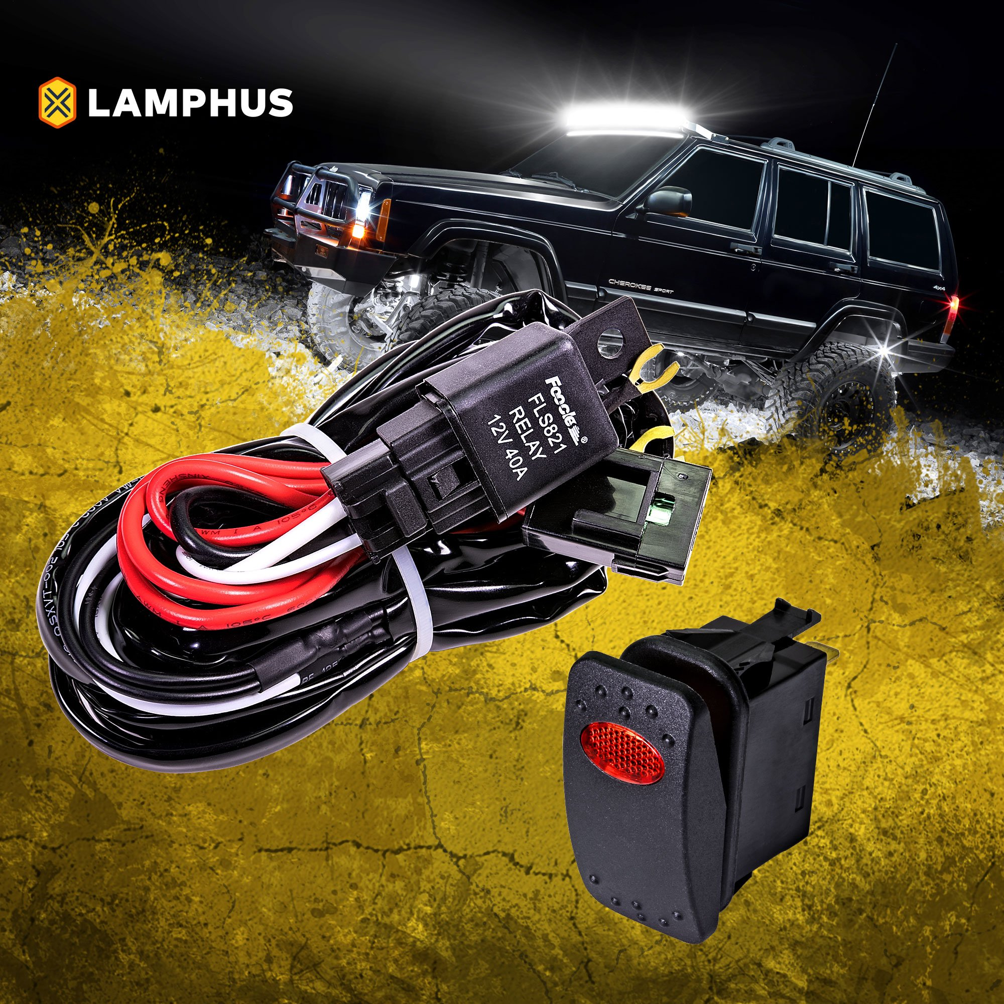 Lamphus 12v 40a Off Road Atv Jeep Led Light Bar Relay Wiring Harness For Kit Red On Switch