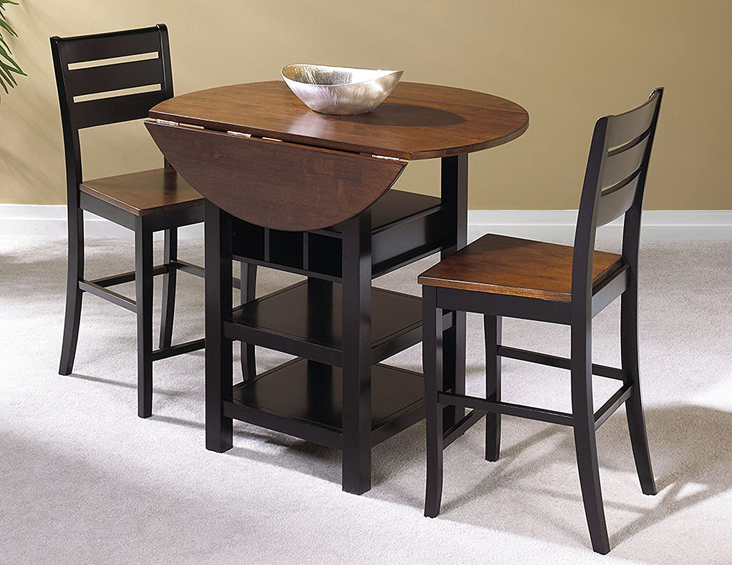 Amazon.com Sunset Trading 3 Piece Quincy Drop Leaf Pub Table Set Kitchen u0026 Dining & Amazon.com: Sunset Trading 3 Piece Quincy Drop Leaf Pub Table Set ...