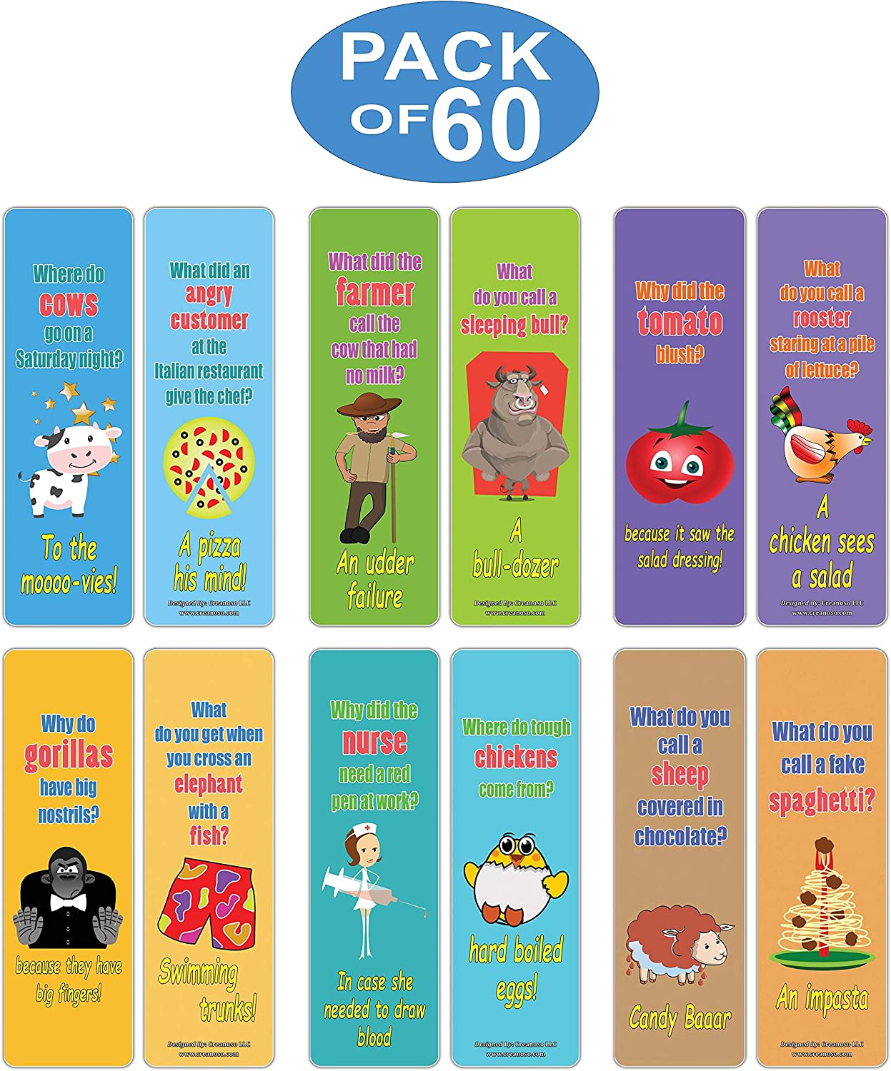 - Funny Jokes Series 1 Literary Gifts Party Favors Teacher Classroom Reading Rewards and Incentive Gifts for Boys Girls Children Creanoso Hilariously Silly Kids Bookmarks Bulk 30-Pack