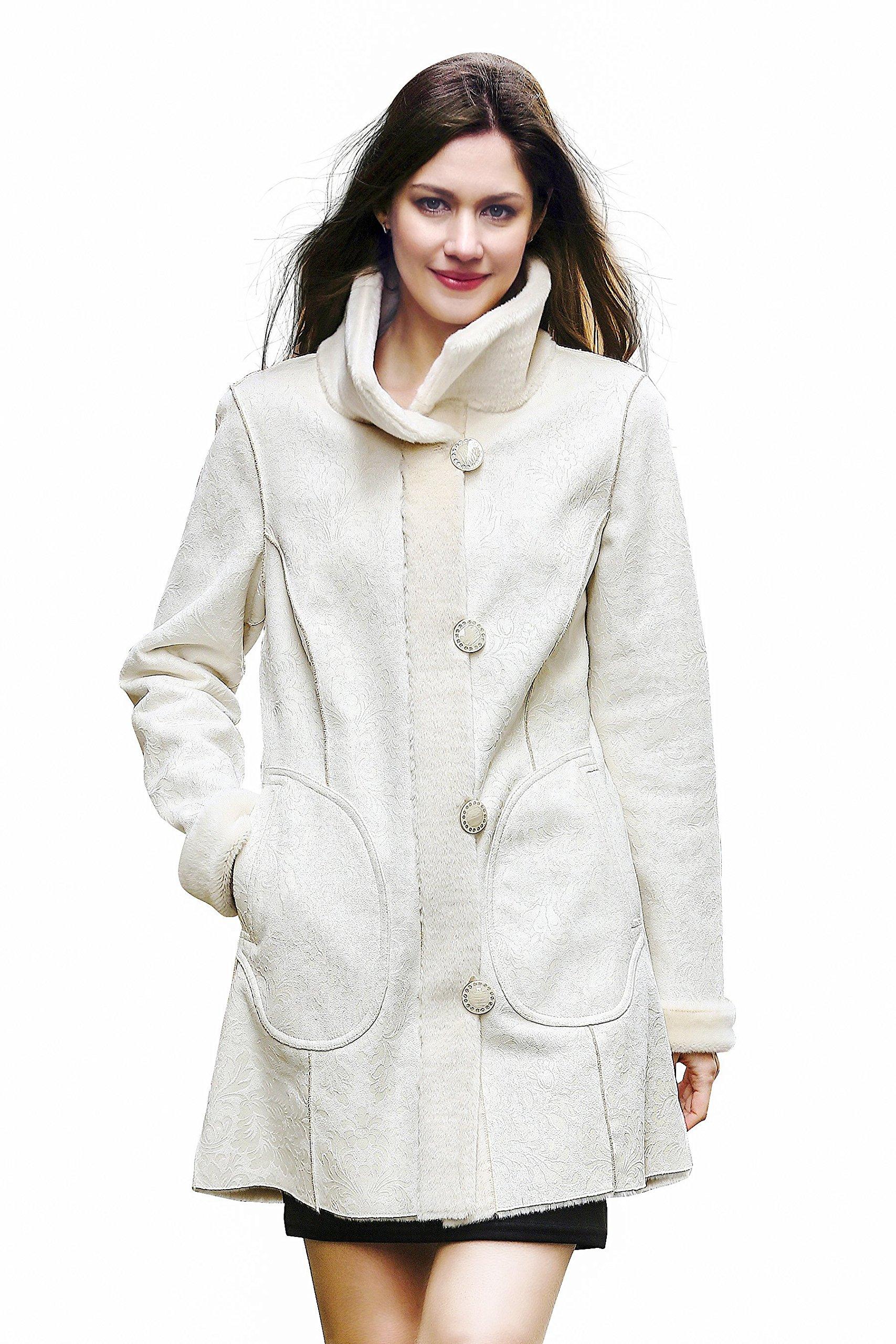 Adelaqueen Faux Fur Coat Jacket Women Ivory Long Sleeve Coat Jacket Large Winter Coat Clothing Plus Fluffy Fake Fur Coat Thick Cheap Fashion Faux Fur Lady Coat Outerwear Shaggy Fuzzy Elegant Coat XL
