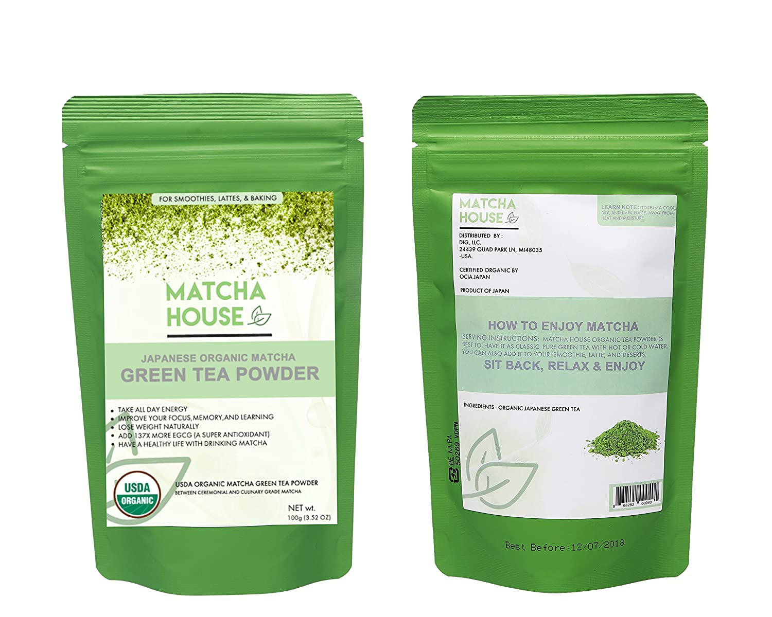 Amazon Com Organic Matcha Green Tea Powder Japanese Ceremonial