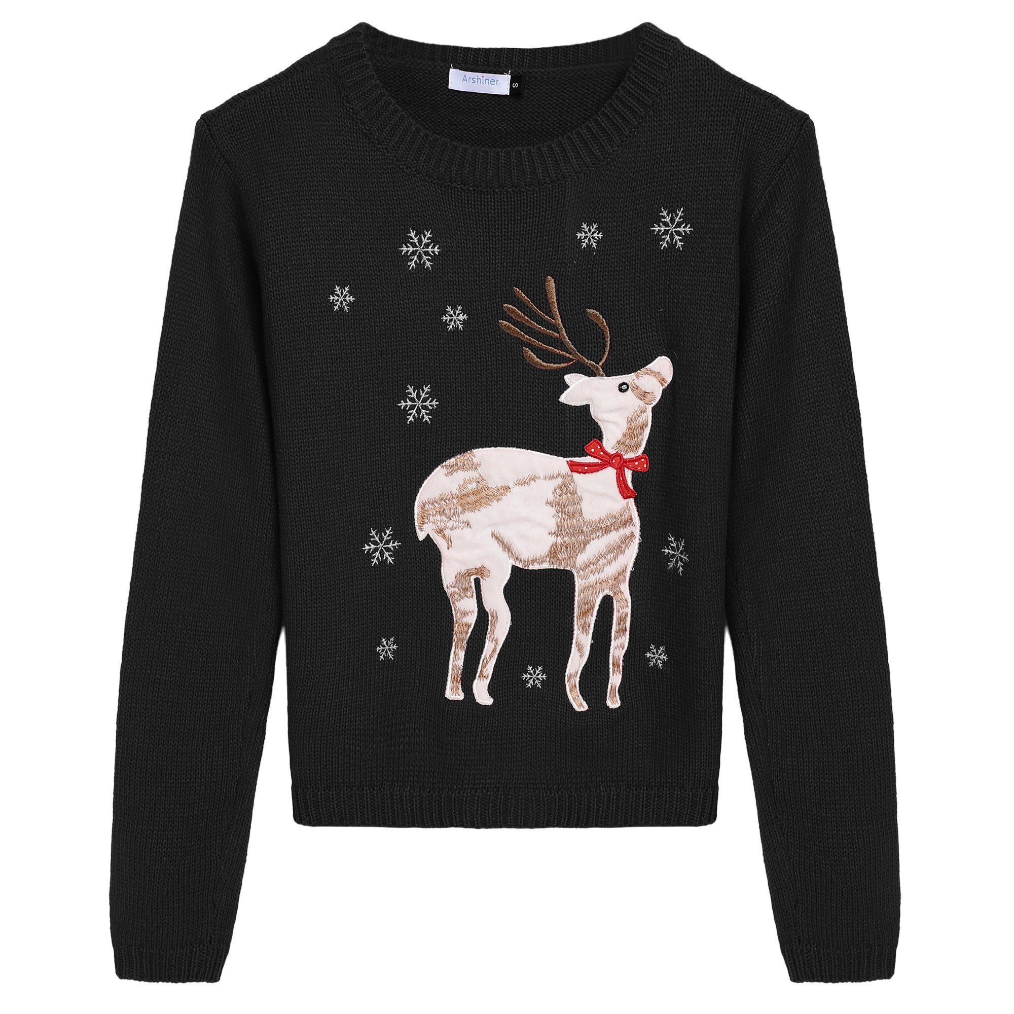 Arshiner Girl Christmas Cute Deer and Elk Embroidered Knitted Pullover Sweater,Black