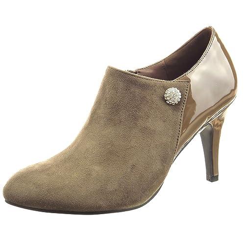 Sopily - Zapatillas de Moda Botines low boots Tobillo mujer joyas patentes Talón Tacón de aguja alto 8 CM - Taupe CAT-3-PN1511 T 41: Amazon.es: Zapatos y ...