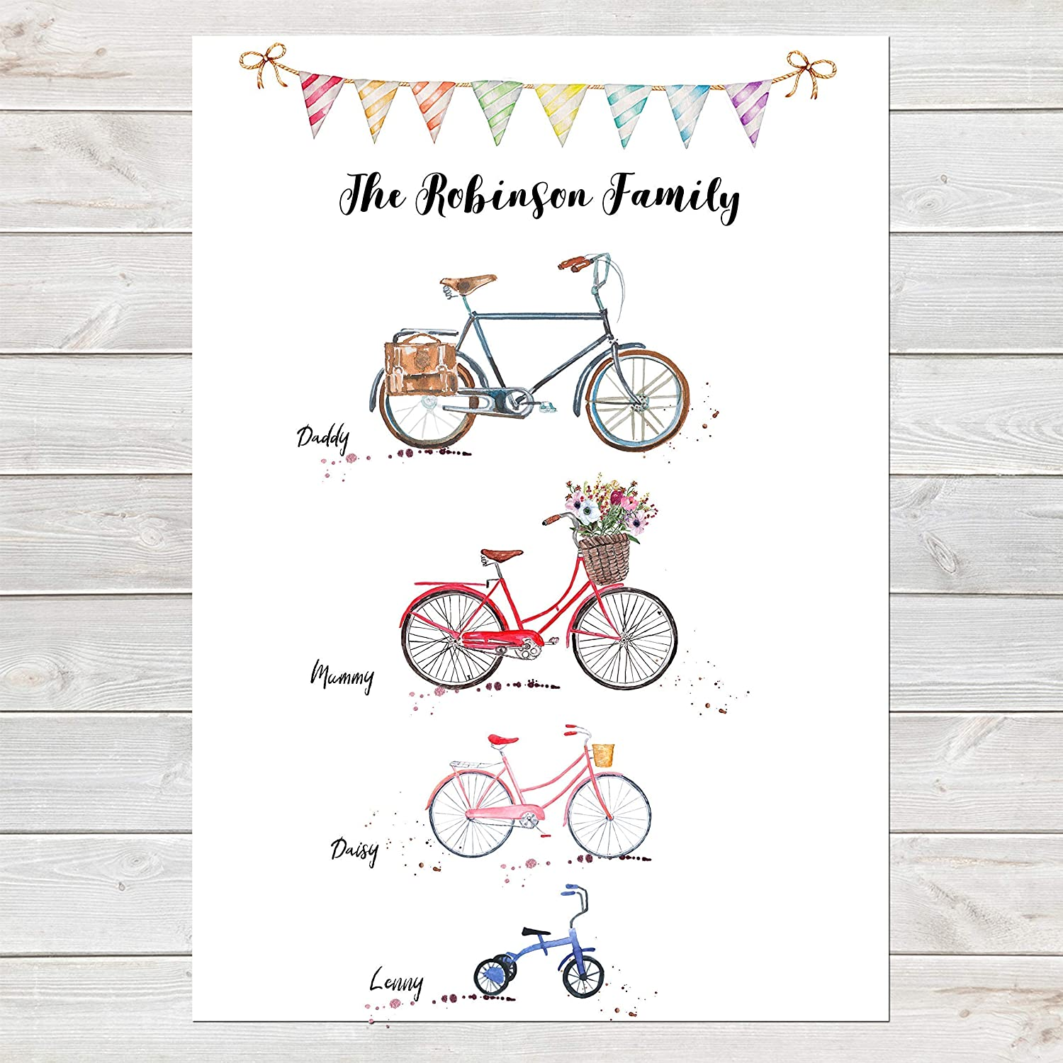 Bike Family Print Bicycle Wall Art Gift for Home Personalised in A3 or A4