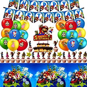 Super Mario Party Supplies, Super Mario birthday decorations Includes Happy Birthday Banner, Big Cake topper, Cupcake toppers, Table Cloth and Super Mario Balloons for Cake Decor/Baby Shower/Kids Birthday Party, Super Mario Theme Birthday Party Dessert Set