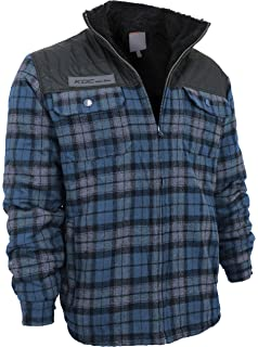 Mens Heavyweight Flannel Zip Up Fleece Lined Plaid Sherpa Hoodie Jacket