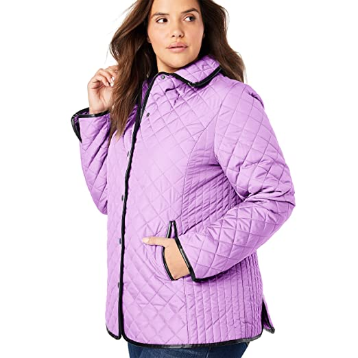 c5720a107 Woman Within Women's Plus Size Quilted Snap-Front Jacket