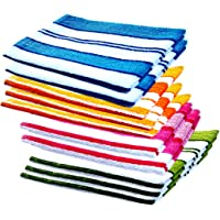 Space fly Striped Hand Towels High Absrobent (Set of 10)-, 12 inch X 18 inch (Multi Color)