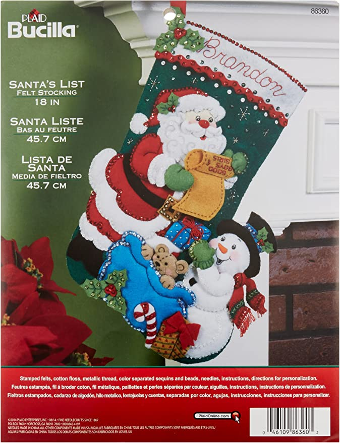 Santa Face Gallery Of Stitches 15 Inch Stocking By Bucilla Vintage Unopened Felt Applique Christmas Stocking Kit 1995