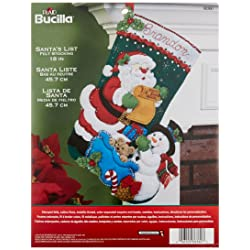 Santa's List Stocking Felt Applique Kit-18 Long
