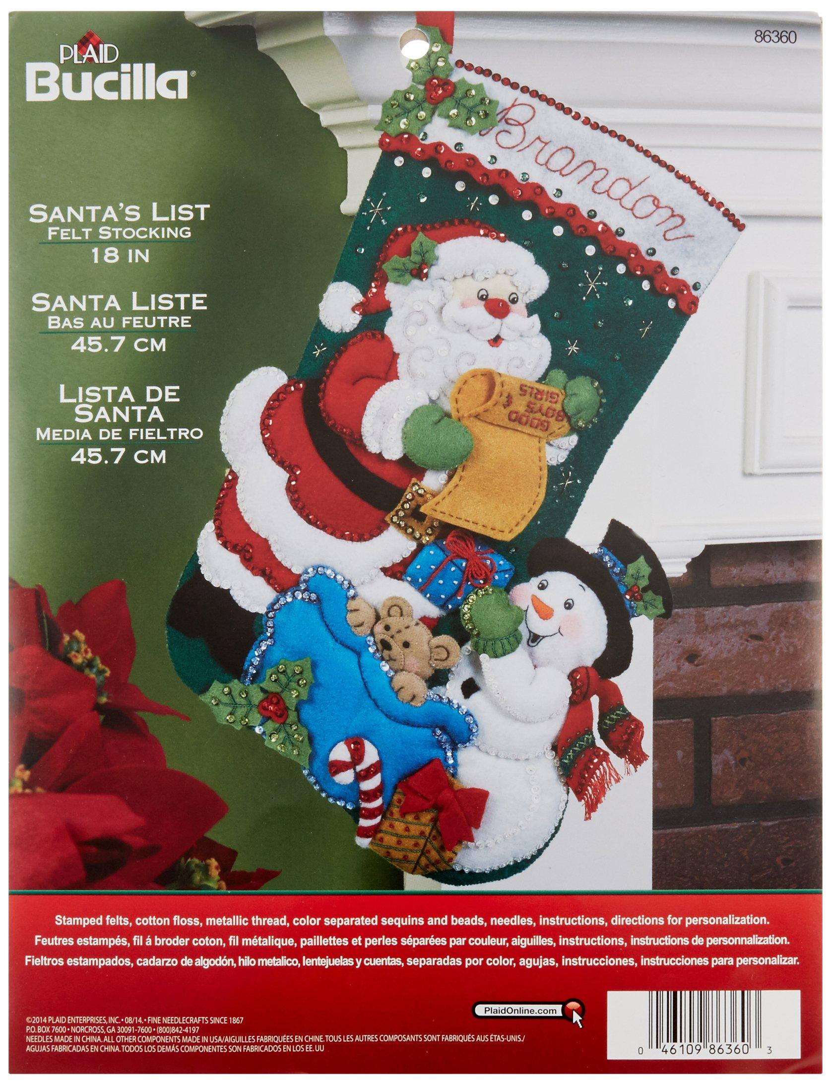 Bucilla 18-Inch Christmas Stocking Felt Applique Kit, 86360 Santas List product image
