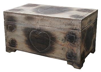 Wohnkult Holz Truhe Herz Motiv Schatztruhe 60 Cm Kiste Aus