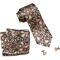 MENSOME Men's Tie Set with Cufflinks and Pocket Square (Multicolour)
