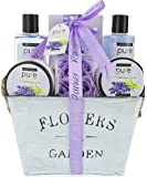 Lavender Essential Oil Aromatherapy Spa Basket. Premium Gift Basket for Women for Birthday, Thank You, Anniversary Gift and to Treat Yourself! Gardener Gift Basket!