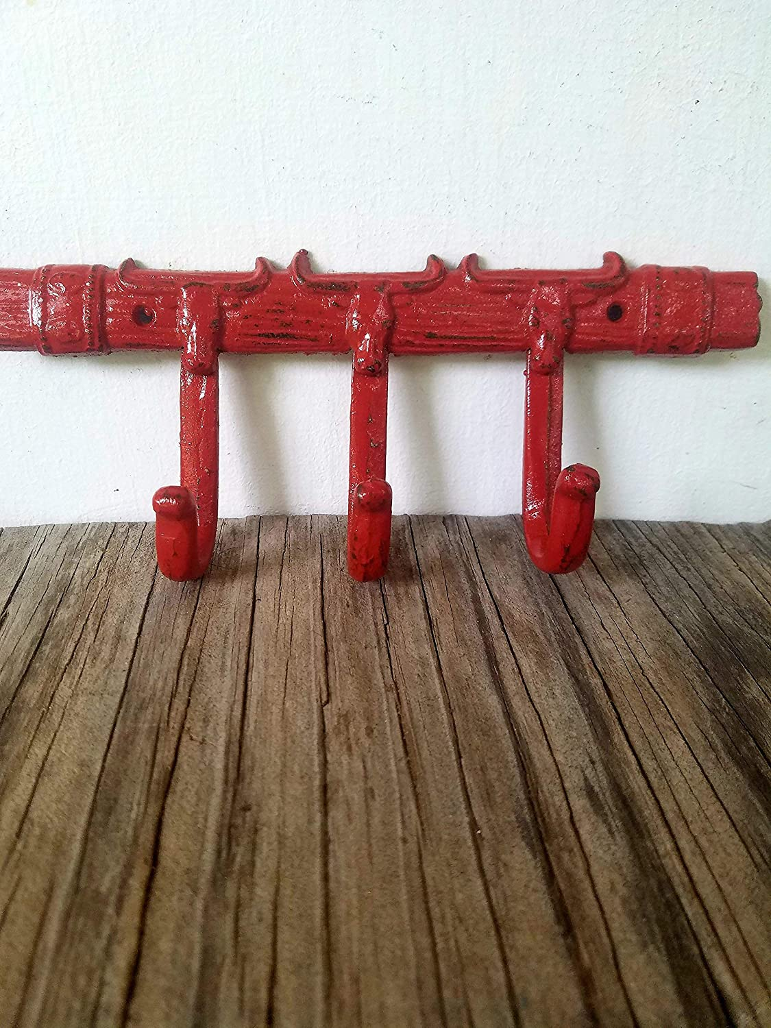 Paprika Sienna Red Men/'s Western Home Decor Wall Mounted Cast Iron Rustic Cowboy Cowgirl Longhorn Triple Hook