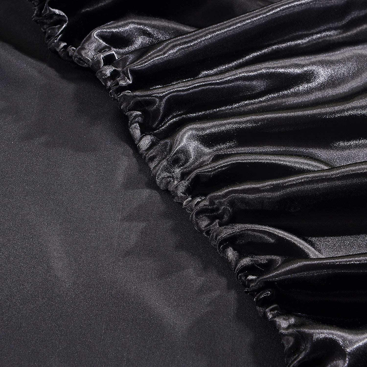 Black, Queen 1 Piece Satin Fitted Sheet Only Classic Luxury Silky Soft Bed Sheets Solid Color