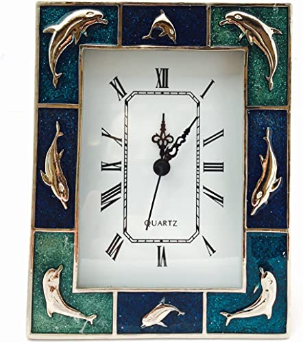 Glory Land Quartz Clock – 8 Dolphins With Blue Inlay – Item 150