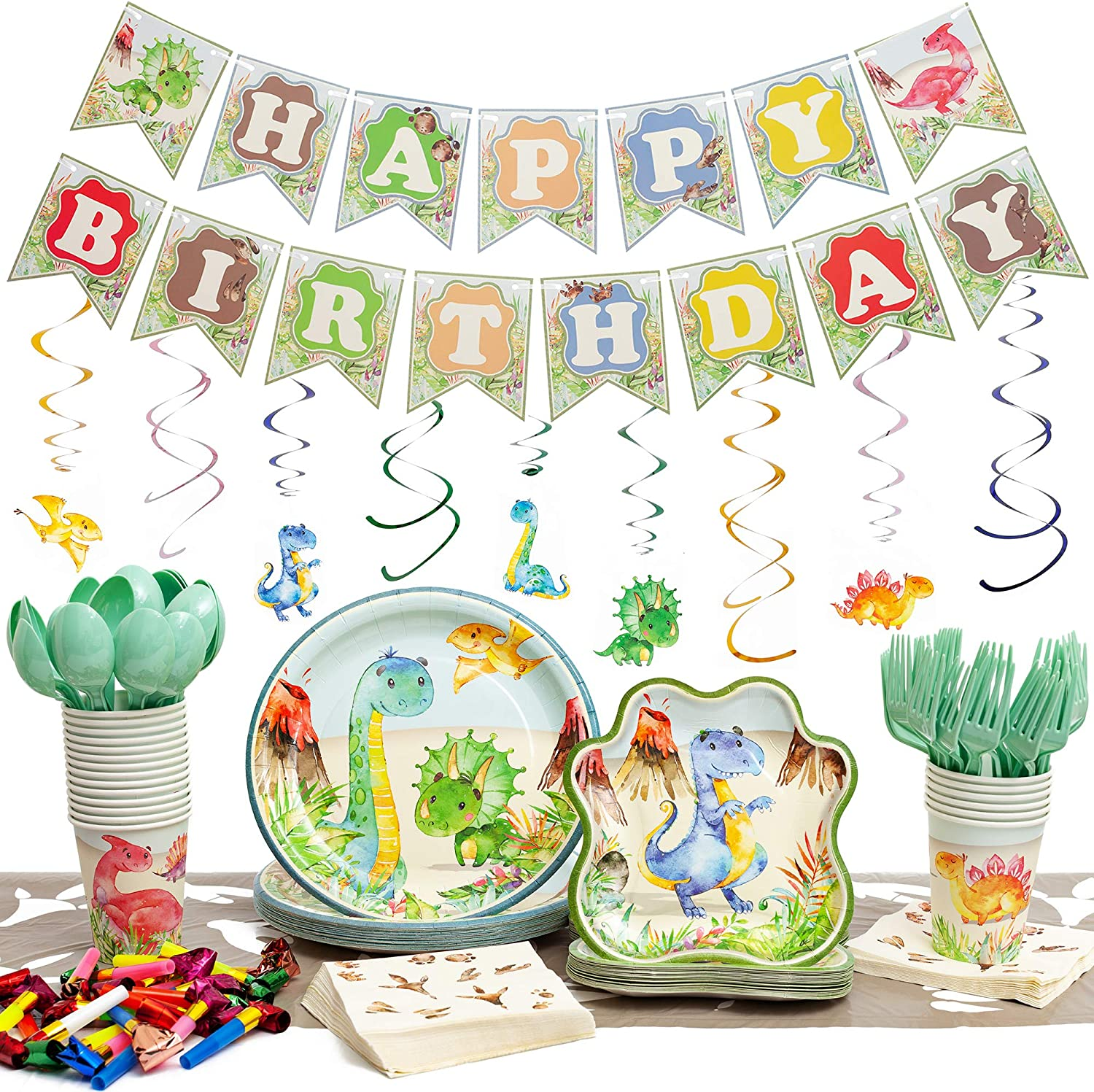 192 Pieces Dinosaur Party Supplies Pack - Serves 20 - Set Includes Favors - Plates - Cups - Napkins - Table Cloth - Cutlery - Birthday Banner and Decorations