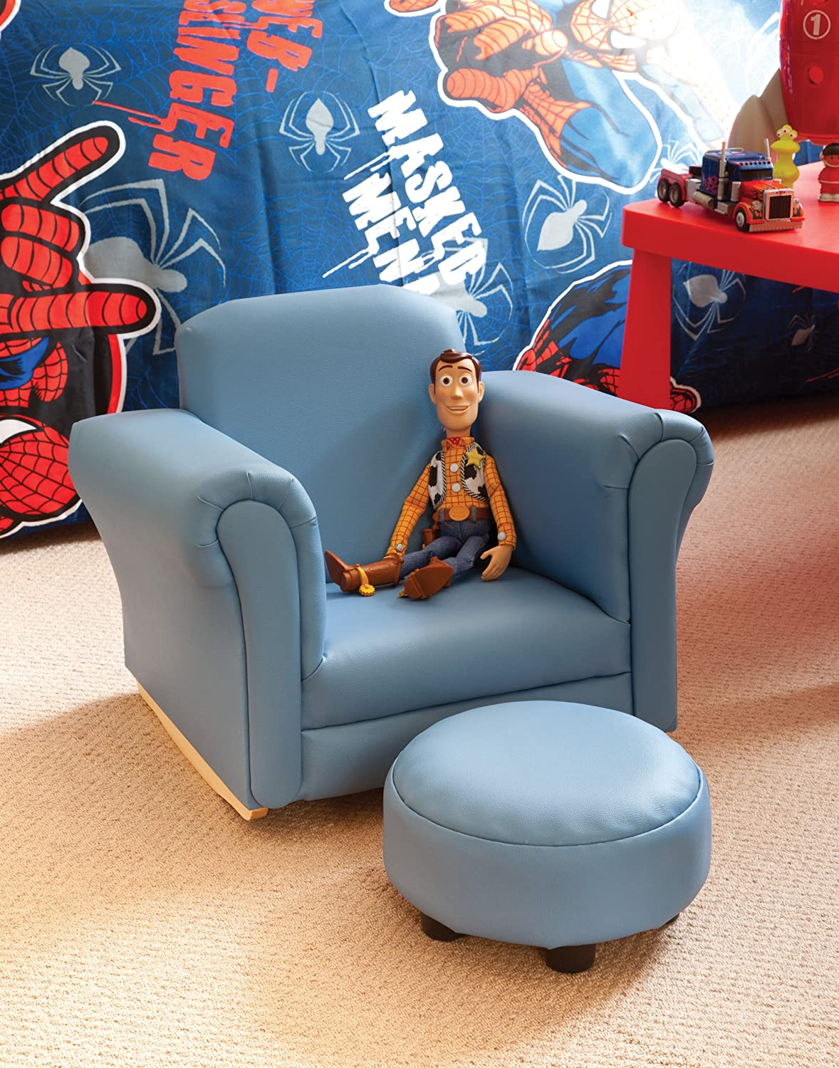 Childrens/Kids Blue Rocker Armchair   Chair And Foot Stool Limited Stock:  Amazon.co.uk: Kitchen U0026 Home