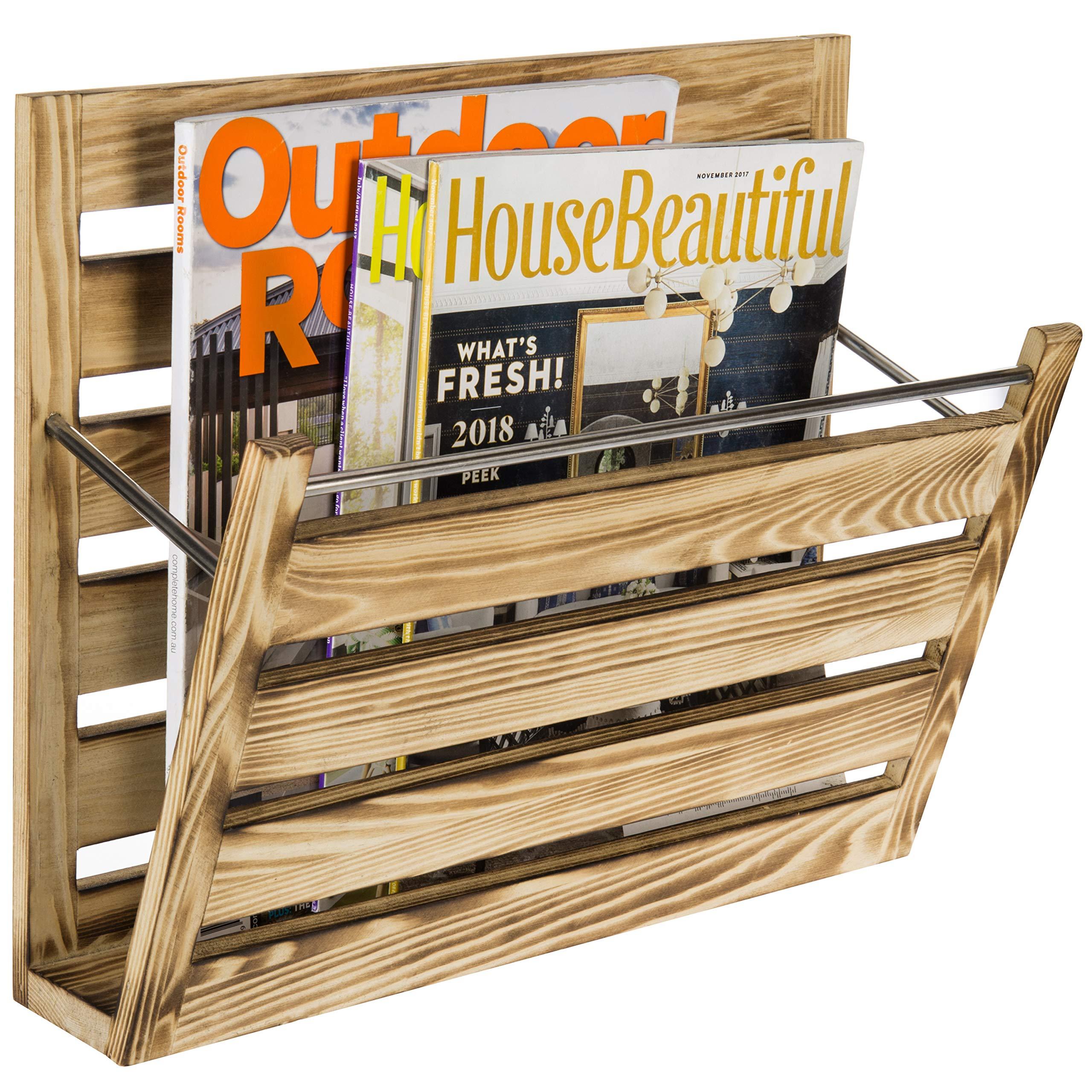 MyGift Slightly Burnt Wood Wall-Mountable Mail & Magazine Holder