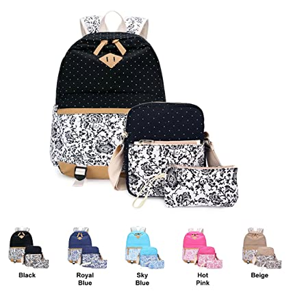 Casual Daypack Cotton Canvas School Backpack Shoulder Bag for Teens Girls Boys School Bags, Pencil Cases & Sets Beige