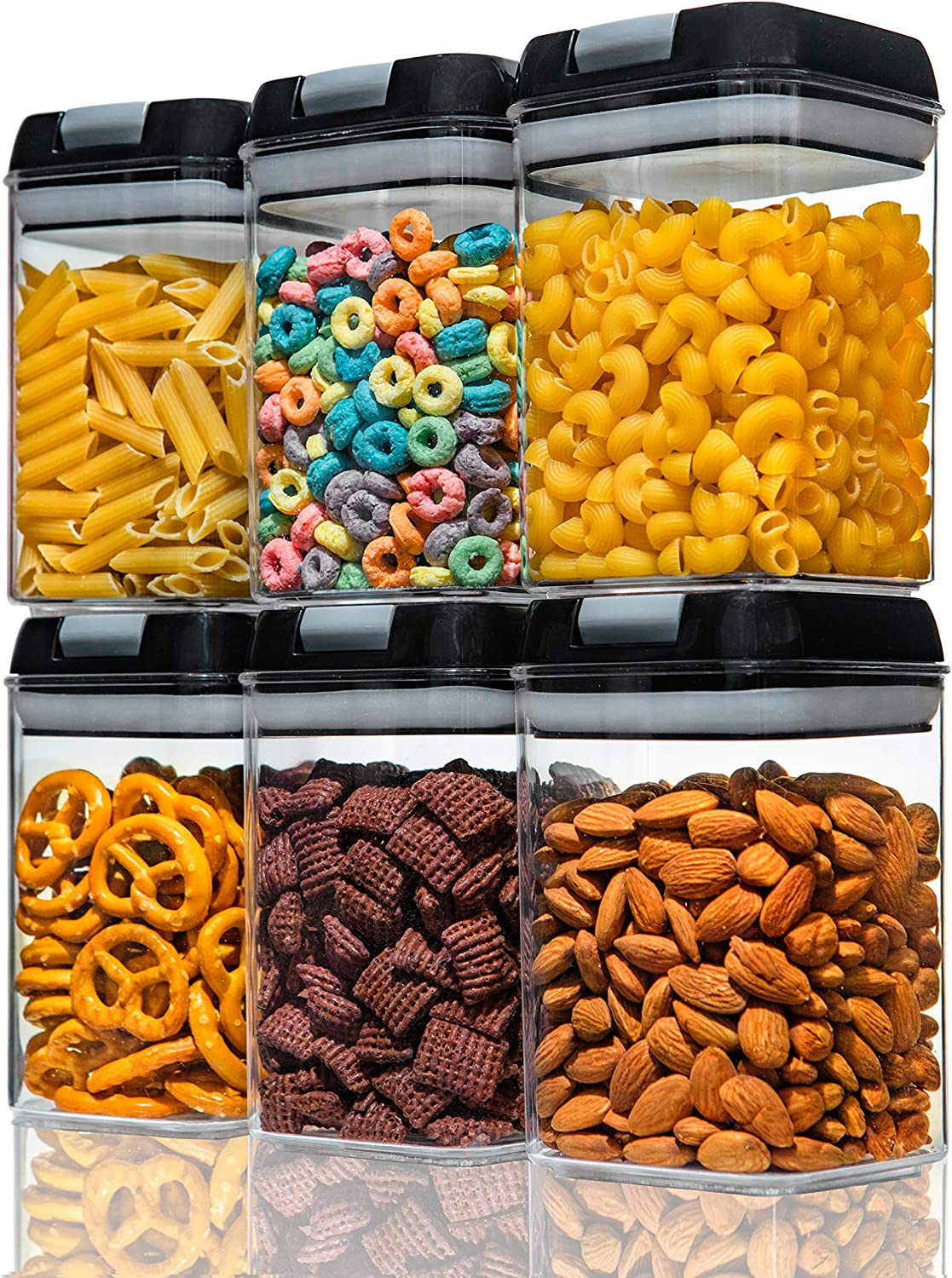 Numyton Airtight Food Storage Containers - 6Pcs - Pantry Organization and Storage - Dry Food Canisters - for pasta, snacks, biscuits, cereal, nuts