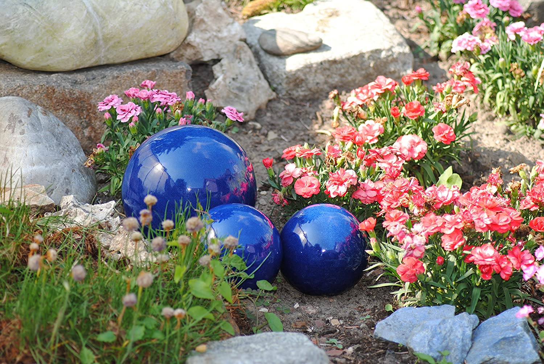 Kunert-Keramik Kugel,Rosenkugel,Gartenkugel,in tollem Blau,frostfest; 17cm