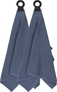 """Ritz Hook and Hang Towel with Permanent Rubber Hook for Kitchen, Bathroom, Mudroom, Laundry Room, Extra-Large, 18"""" X 28"""", Machine Washable, 2 Pack, Federal Blue"""