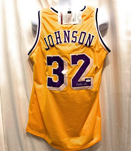 556fe4e935a Magic Johnson Los Angeles Lakers Signed Autograph Yellow Custom Jersey JSA  Witnessed Certified