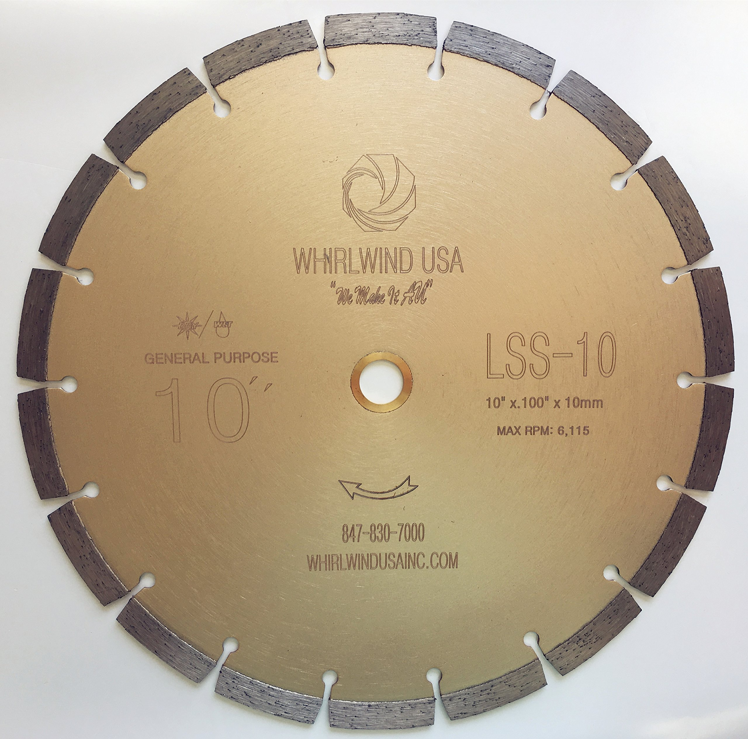 Whirlwind USA LSS 10-Inch Dry or Wet Cutting General Purpose Power Saw Segmented Diamond Blades for Concrete Stone Brick Masonry (Factory Direct Sale) (10'')