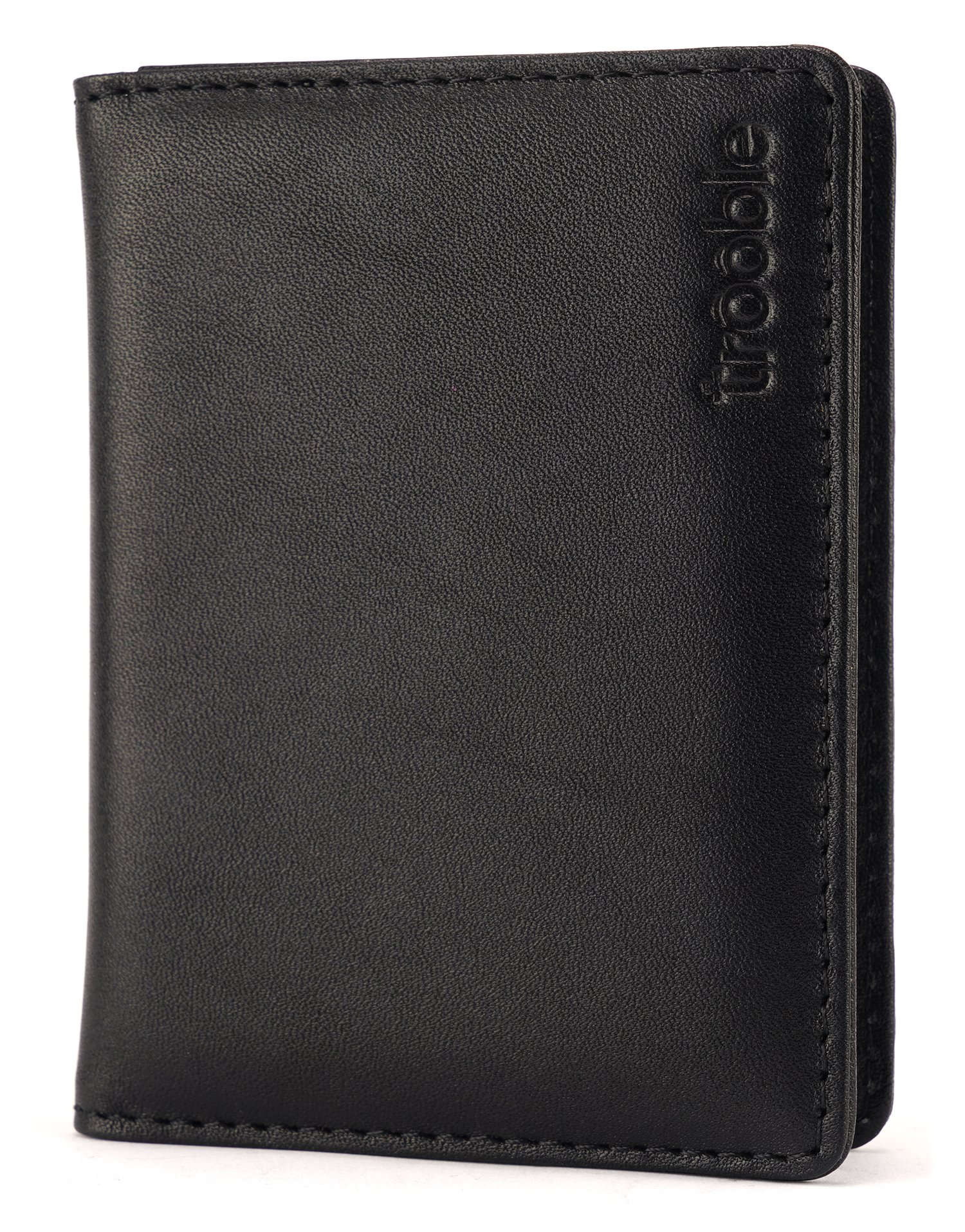 trooble slim wallet - genuine, high quality leather - card case - black