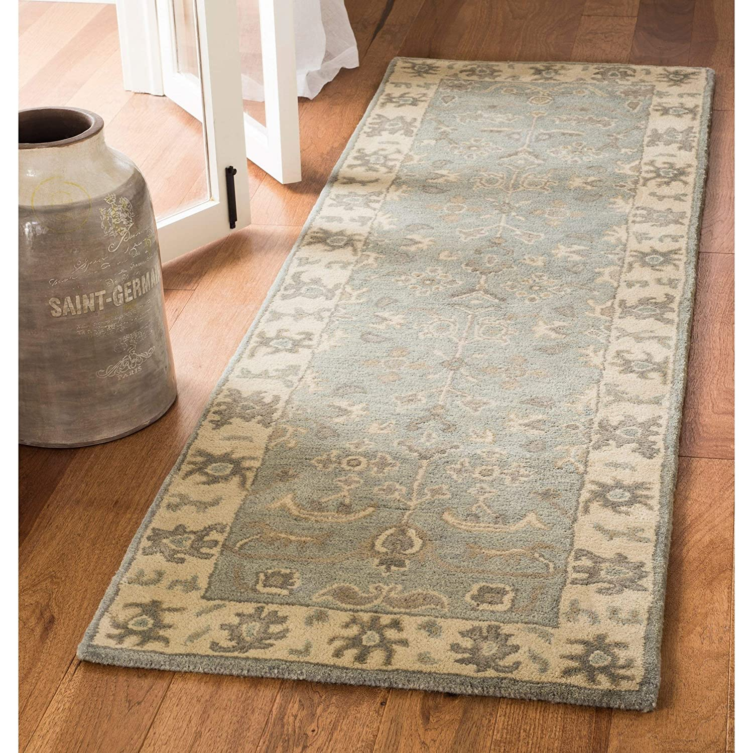 23 x 7 Safavieh Royalty Collection ROY721A Slate and Cream Traditional Oriental Wool Runner