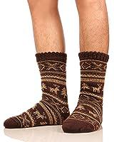 Dosoni Mens Christmas Deer Fleece Lined Thick Fuzzy Winter Slipper Socks - Gift Idea