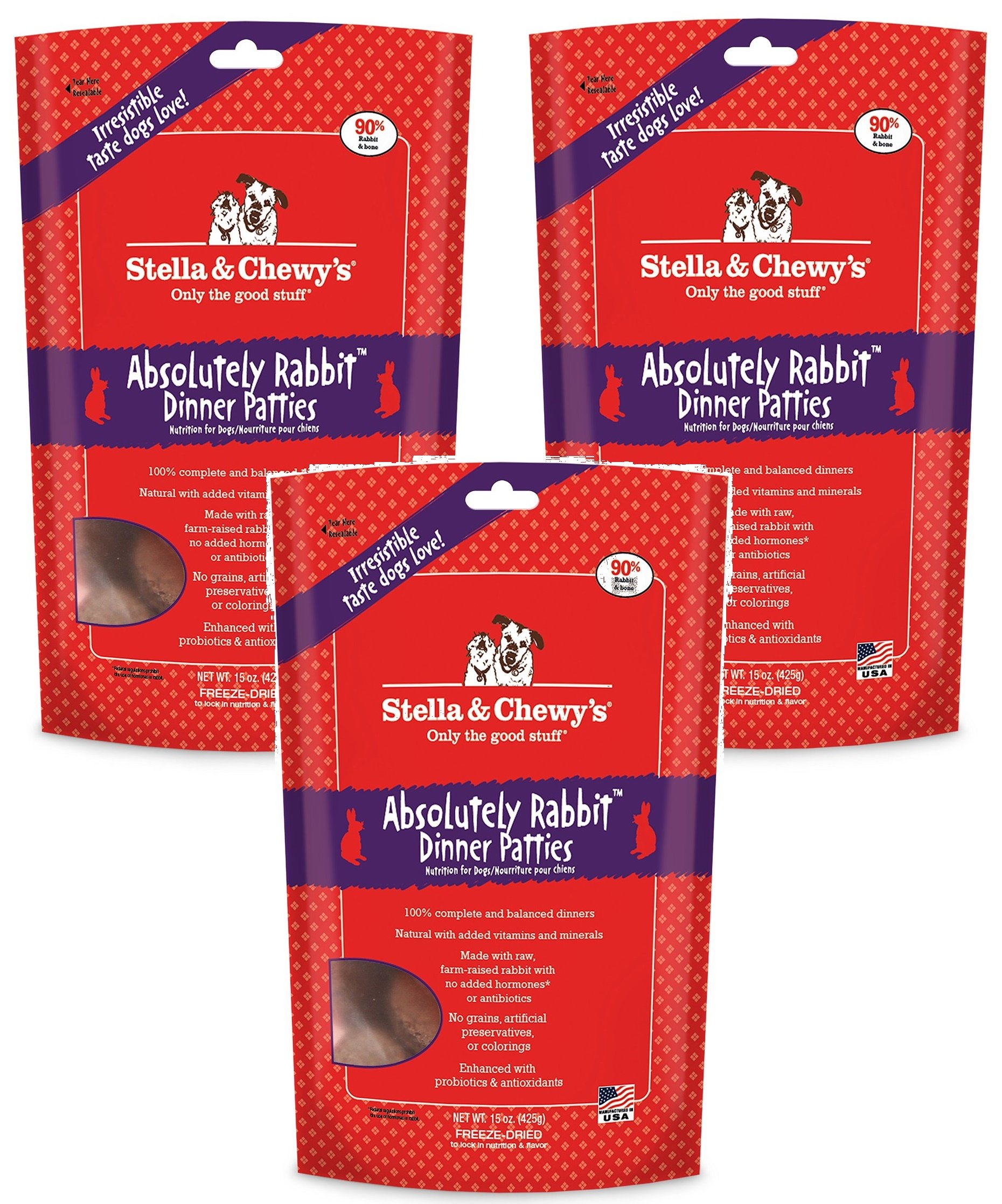 Stella & Chewy's Freeze Dried Dog Food for Adult Dogs, Rabbit, 15 Ounce Bag (3 Pack)