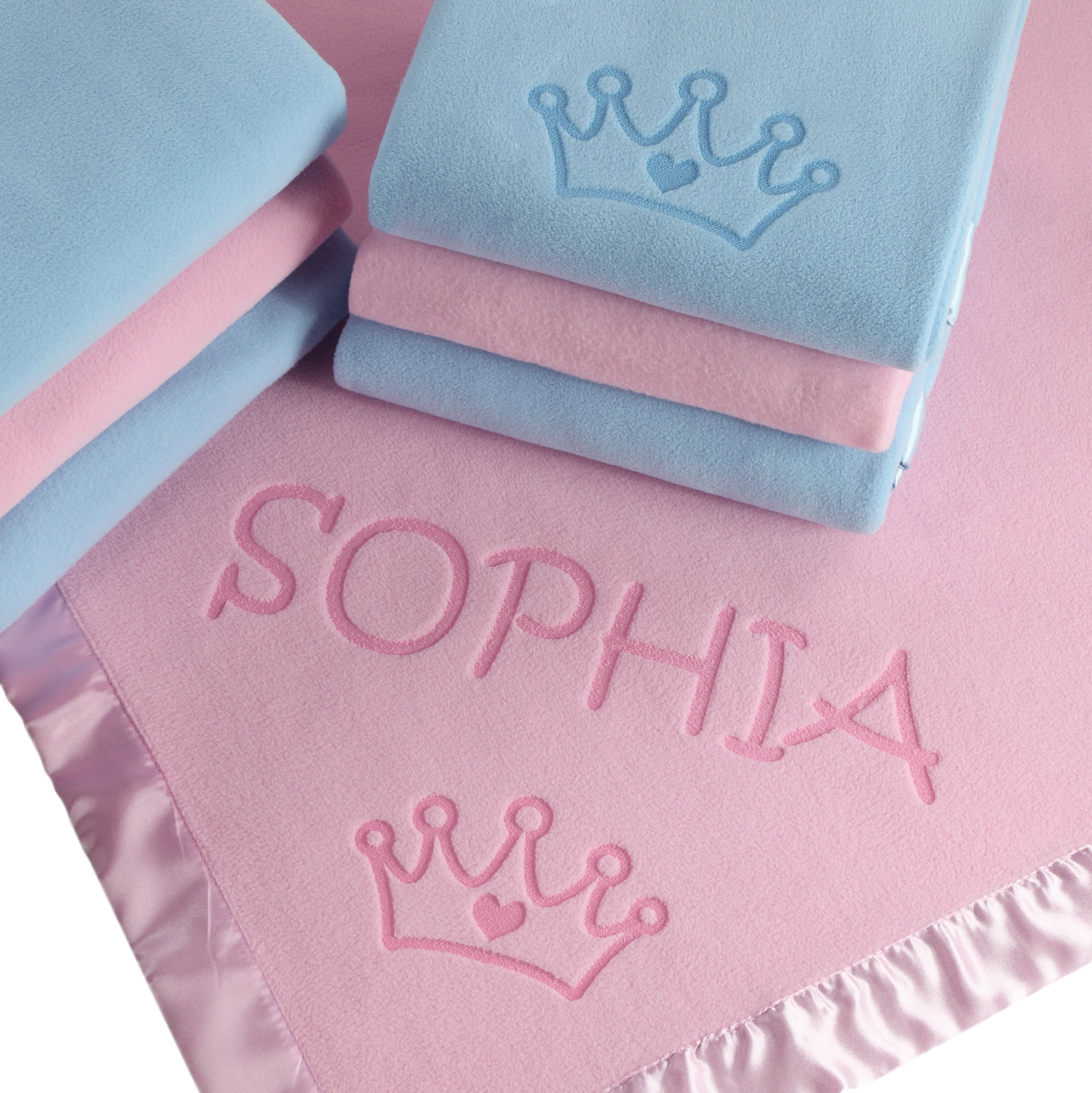 Custom Catch Princess Baby Blanket for Girls - Toddler Girl Crib Bedding, Receiving Blankets (Pink, Blue: 1 Text Line)