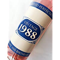 1988 Vintage Blue Happy 30th Birthday 2018 Wine Bottle Label Gift for Women and Men