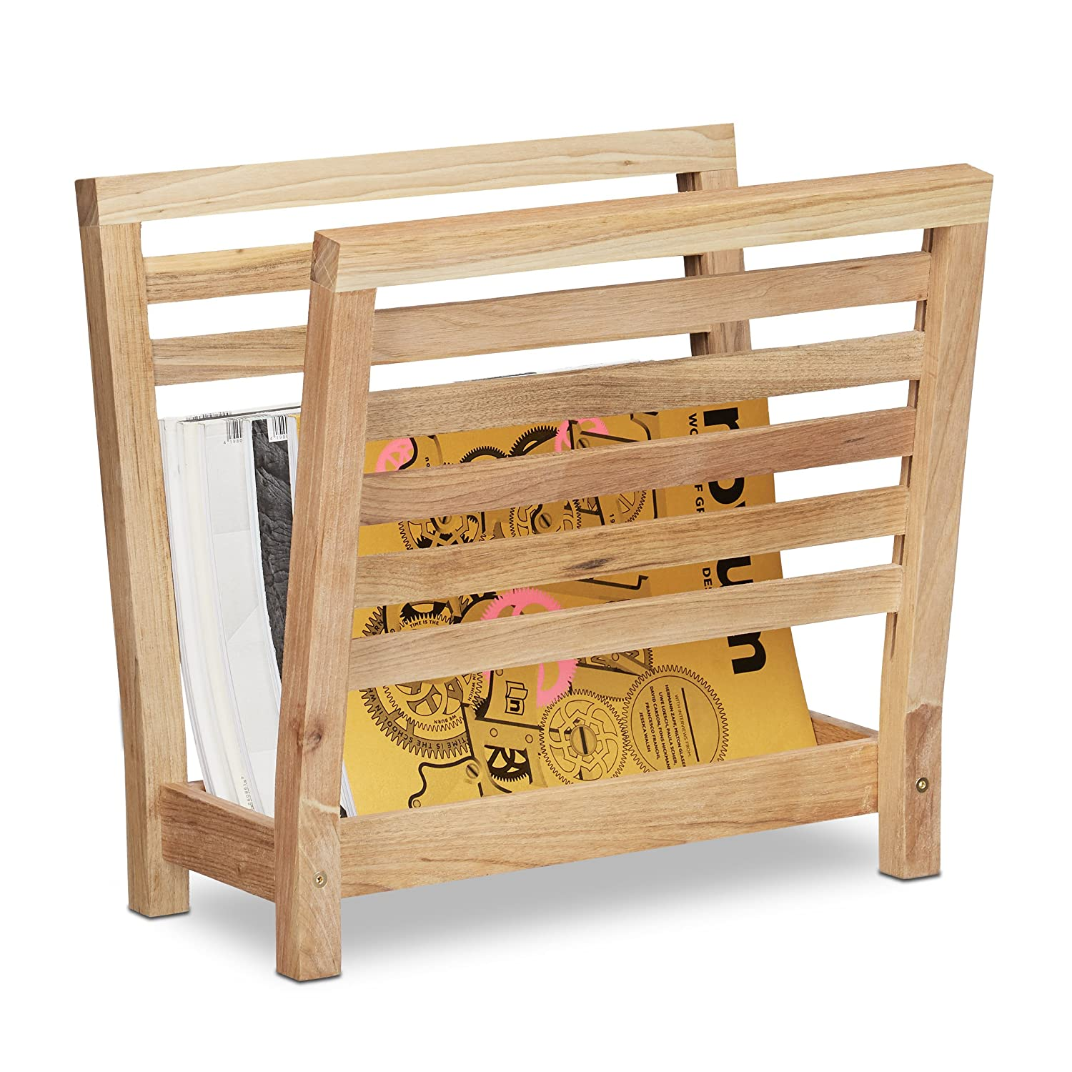 Relaxdays Walnut Newspaper Stand, Shelf, Magazine Holder, Catalogue Storage, HxWxD: 38.5 x 26.5 x 40 cm, Wood, Natural, Brown, 40 x 26.5 x 38.5 cm 10020656
