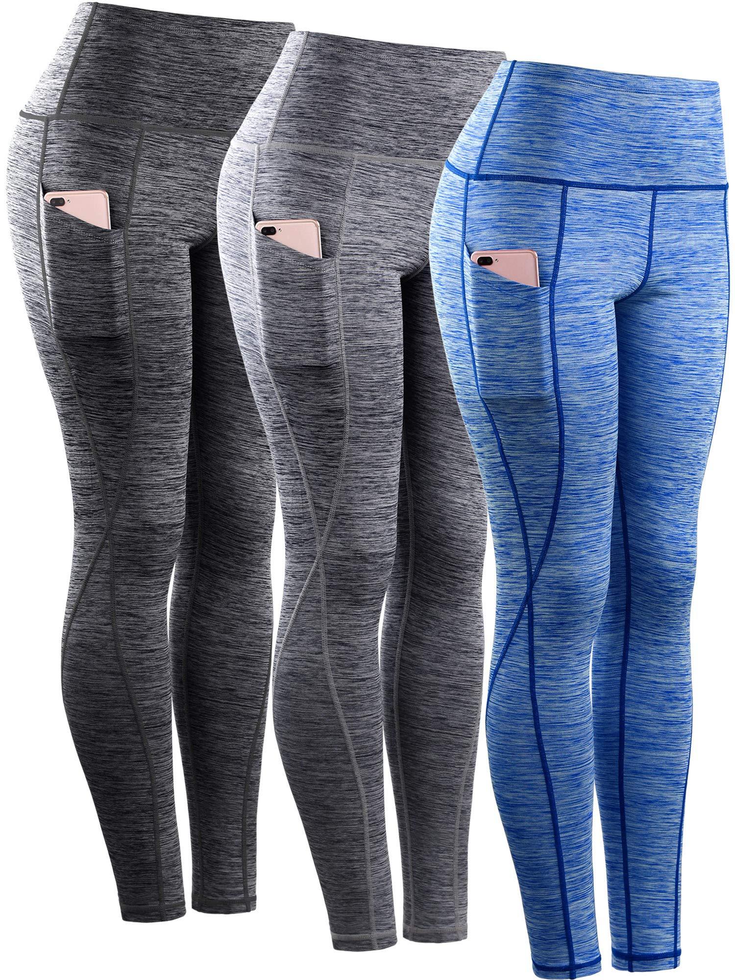 Neleus Tummy Control High Waist Workout Running Leggings for Women,9033,Yoga Pant 3 Pack,Black,Grey,Blue,S,EU M