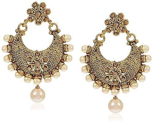 Buy Zaveri Pearls Chand Bali Earrings For Women Golden Zpfk7156