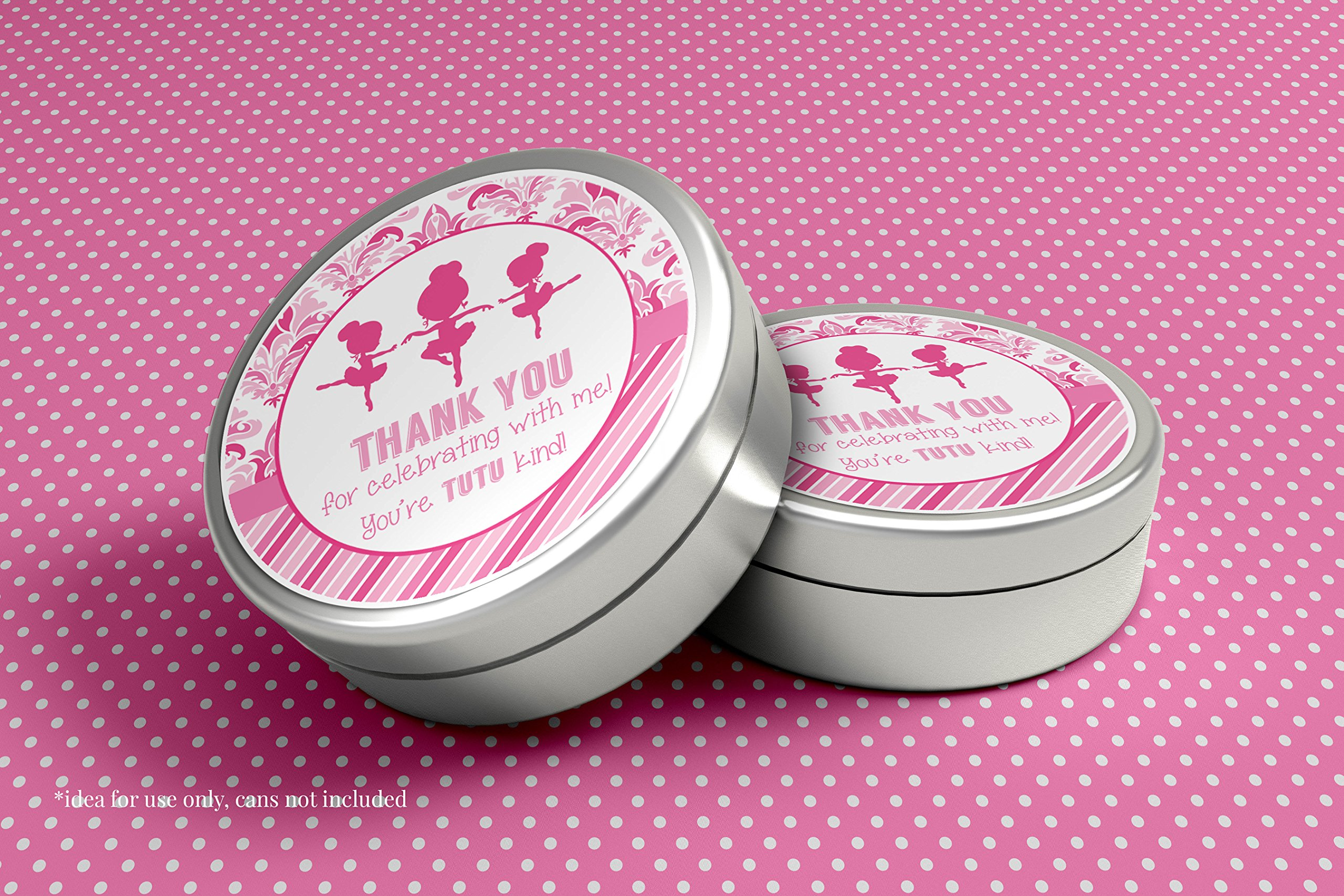 Dance & Twirl Pink Ballerina Thank You Birthday Party Sticker Labels, 20 2'' Party Circle Stickers by AmandaCreation, Great for Party Favors, Envelope Seals & Goodie Bags by Amanda Creation (Image #3)