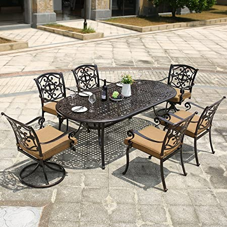 DOMI OUTDOOR LIVING Aluminum 7-Piece Patio Dining Set 84 x 42 Oval Table Garden Furniture, 1 Oval Dining Table, 4 Dining Chairs, 2 Swivel Chairs, Antique Bronze