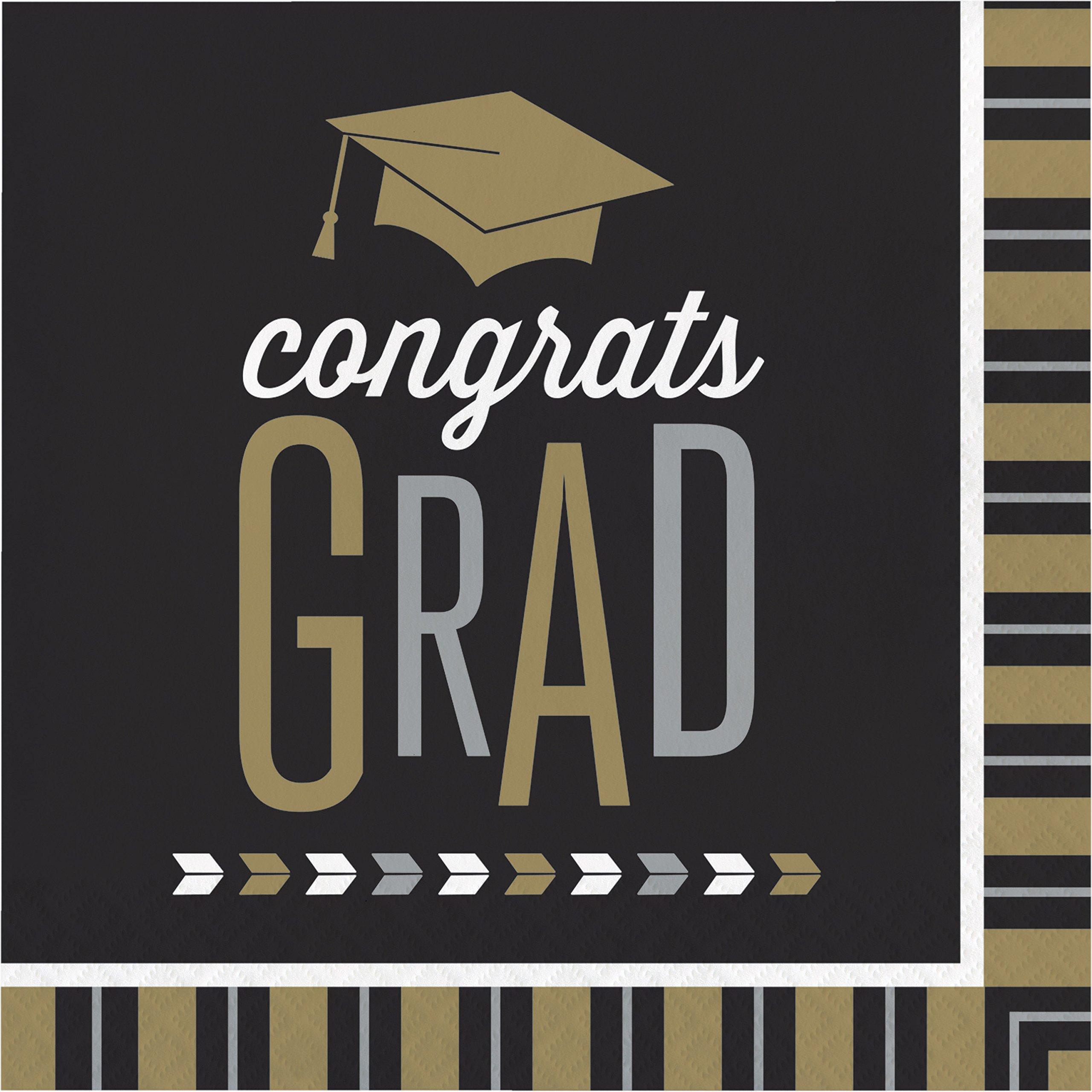 Silver and Gold Glitz Graduation Napkins, 48 ct