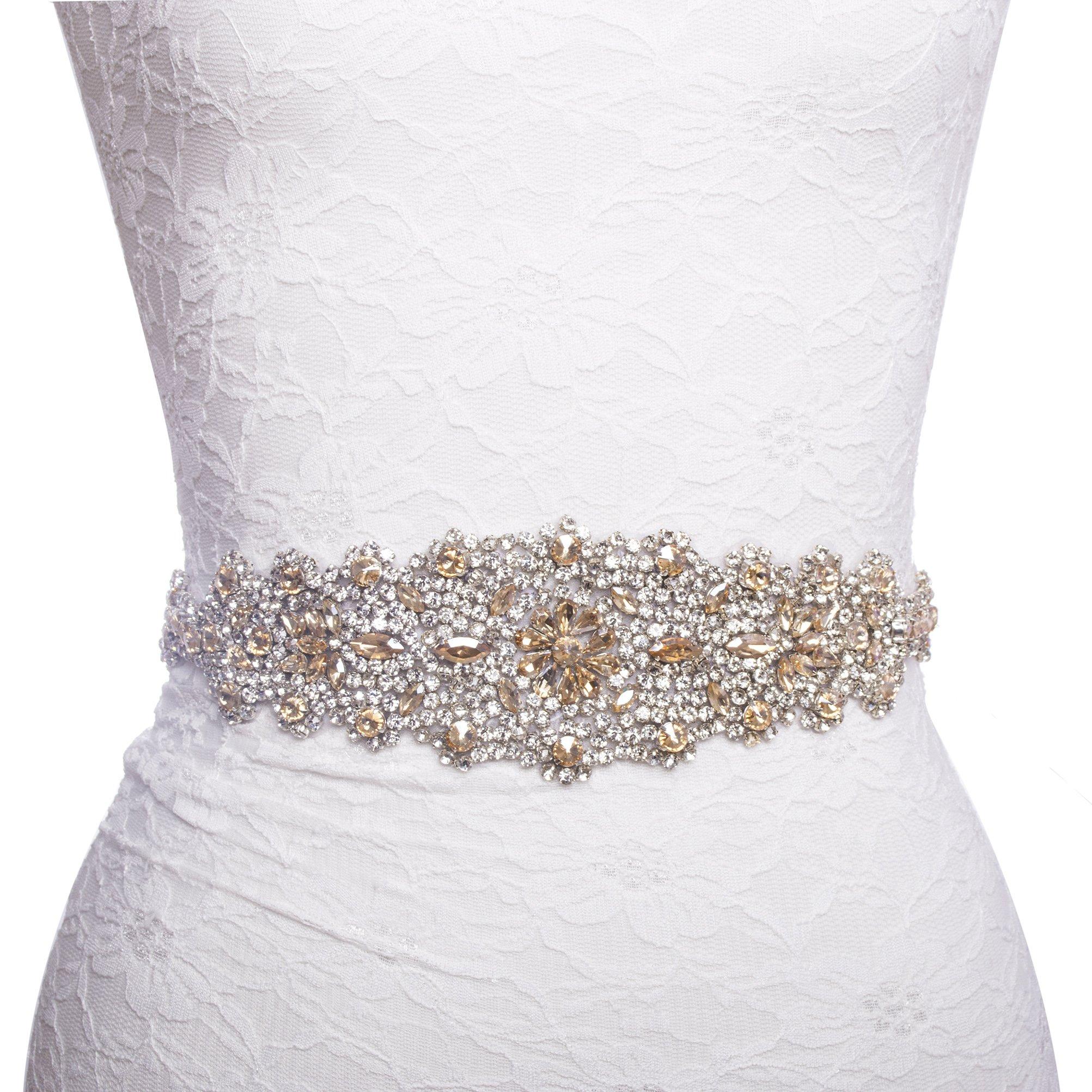 Redowa Wide Champagne Rhinestone Pearl Wedding Dress Bridal Sash Belt