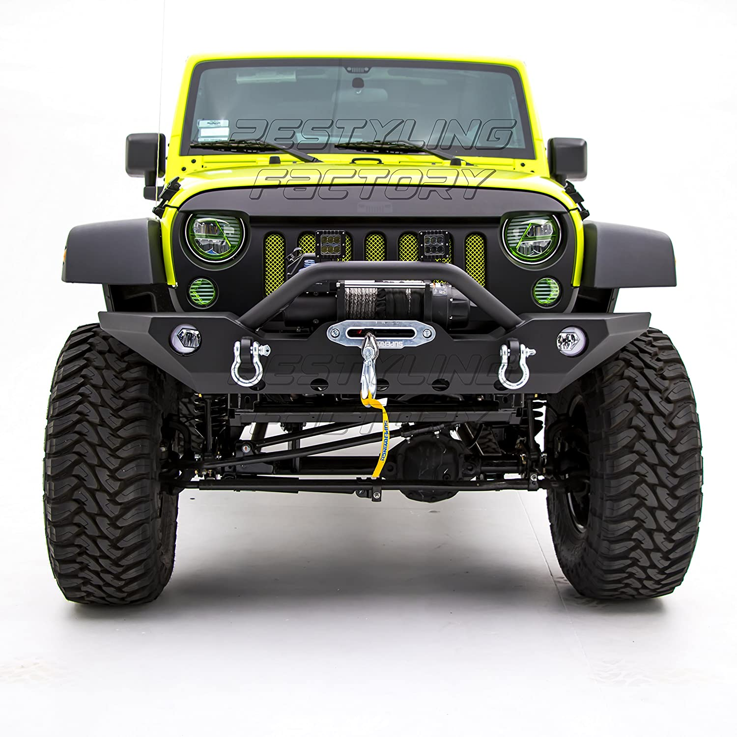 Nice Amazon.com: Restyling Factory  Black Textured Front Bumper With Fog Lights  Hole U0026 2x D Ring U0026 Winch Plate For 07 17 Jeep Wrangler JK: Automotive