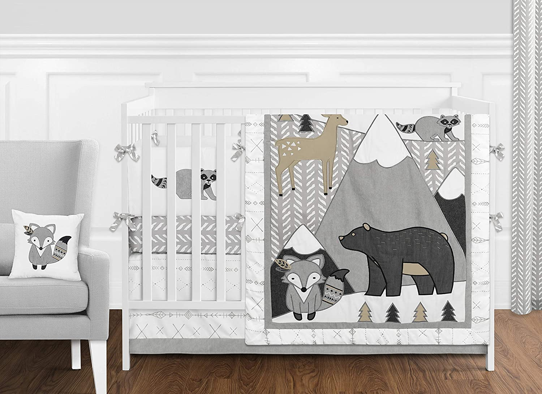Sweet Jojo Designs Beige, Grey and White Boho Mountain Animal Gray Woodland Forest Friends Baby Unisex Boy or Girl Nursery Crib Bedding Set with Bumper - 9 Pieces - Deer Fox Bear