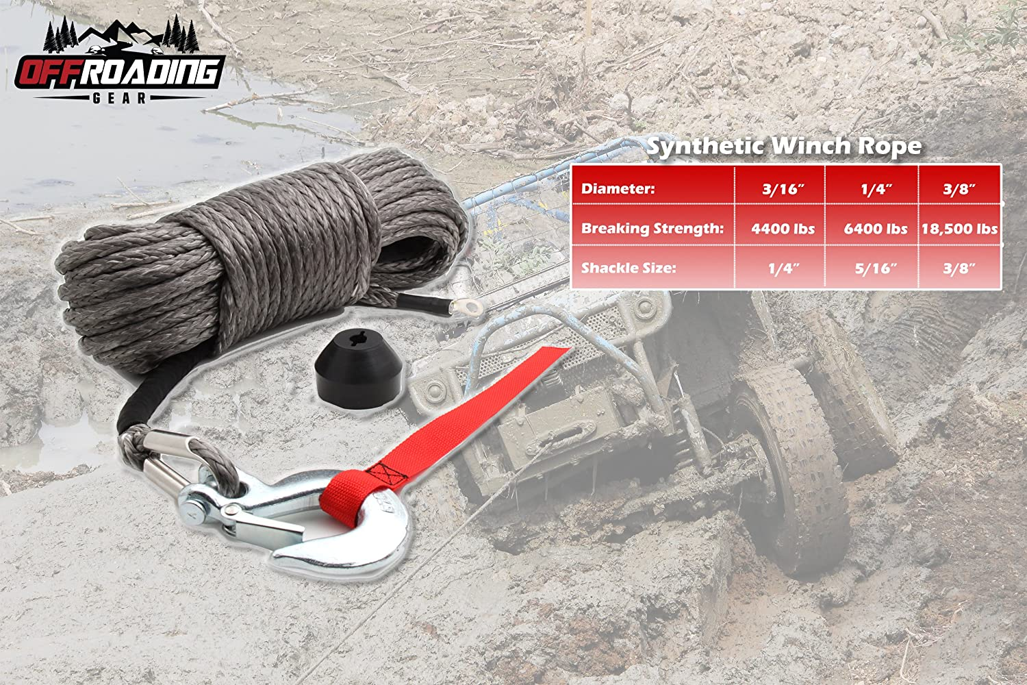 """50x1//4/"""" w//Snap Hook and Rubber Stopper for 4x4//Off-road//ATV//Jeep//etc. Synthetic Winch Rope Kit"""